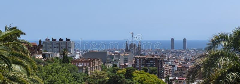 Panorama van Barcelona stock afbeeldingen