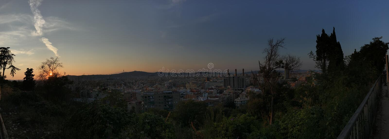 Panorama van Barcelona van Montjuic, sunsetSpain, Europa, stock foto's