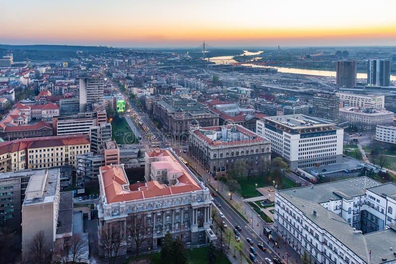 Panorama van Belgrado stock foto