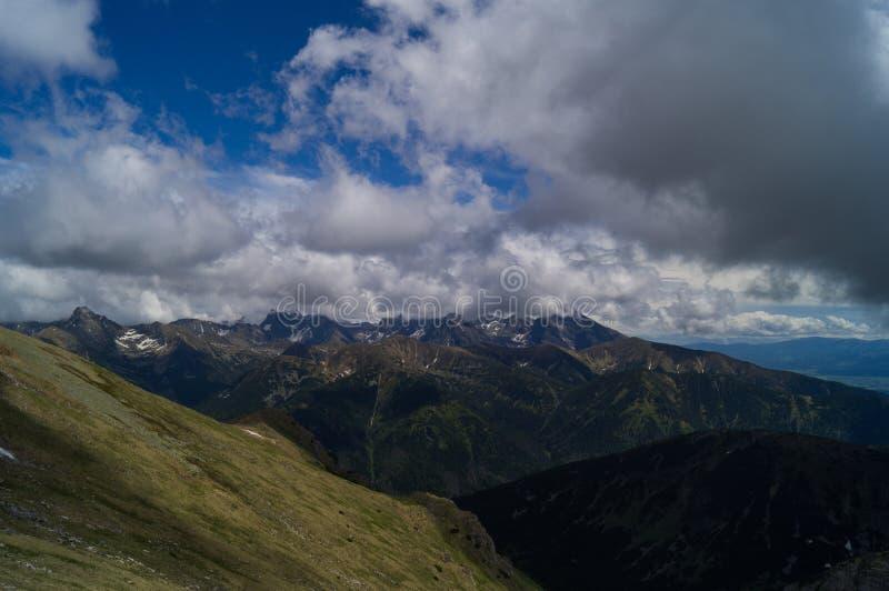 Panorama van berg Slowakije Tatransky narodny park Tatry Vysoke polen royalty-vrije stock afbeelding