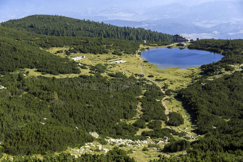 Panorama van Bezbog-Meer, Pirin-Berg royalty-vrije stock foto's
