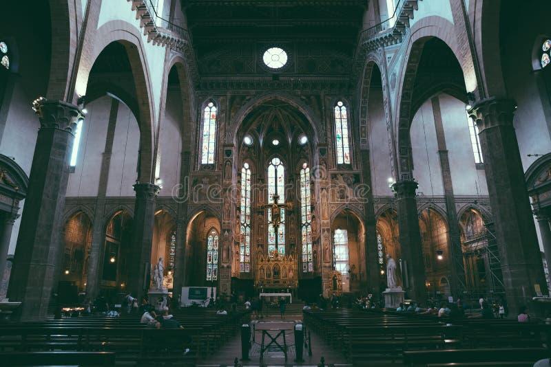 Panorama van binnenland van Basiliekdi Santa Croce royalty-vrije stock foto's