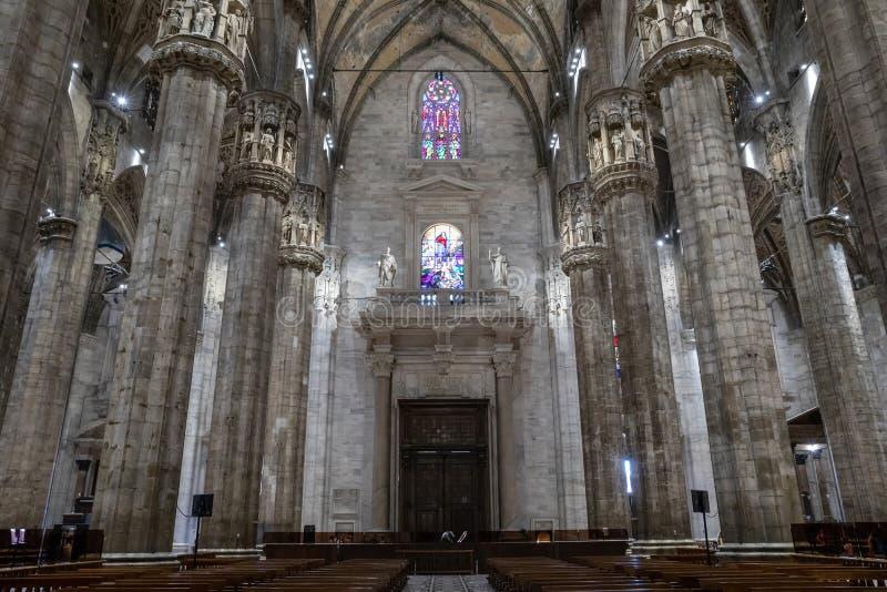 Panorama van binnenland van Milan Cathedral (Duomo-Di Milaan) royalty-vrije stock fotografie