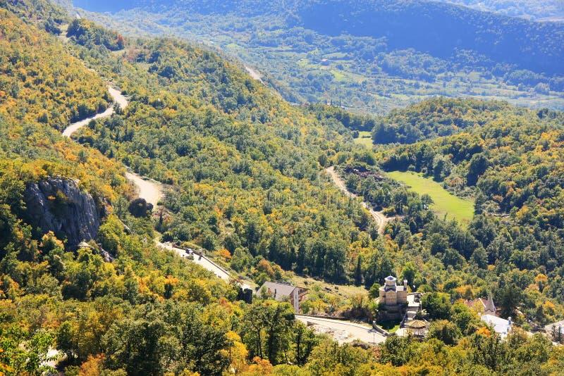 Panorama van Bjelopavlici-vlakte van Ostrog-Klooster, Montenegro royalty-vrije stock foto