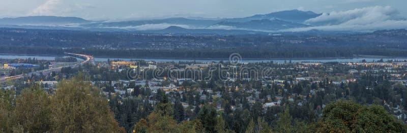 Panorama van Blauw Uur Oregon Washington States stock afbeeldingen