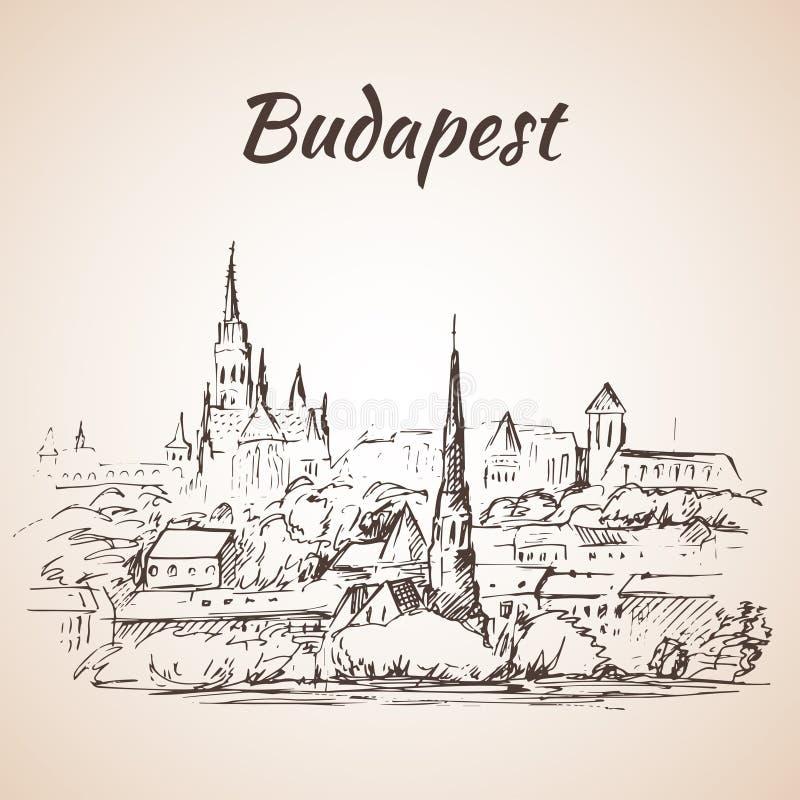 Panorama van Boedapest - Hongarije royalty-vrije illustratie