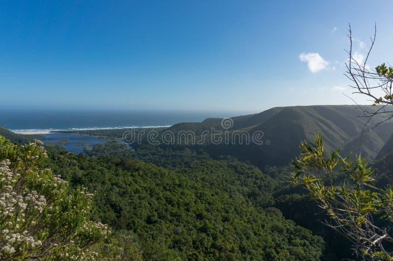 Panorama van bos behandelde bergen en oceaan met lagune op zonnige dag stock fotografie