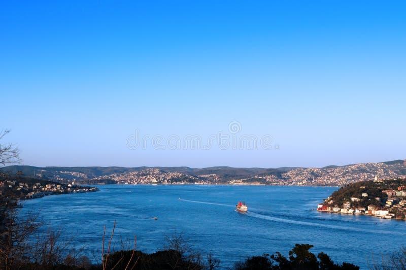 Panorama van Bosphorus, Istanboel stock foto's