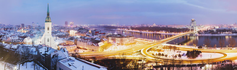 Panorama van Bratislava royalty-vrije stock fotografie