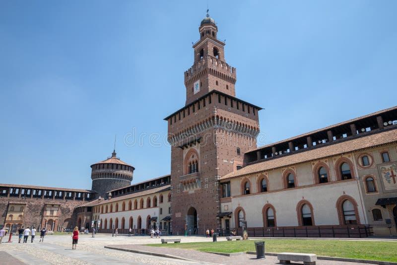 Panorama van buitenkant van Sforza-Kasteel stock foto