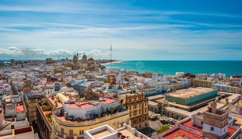 Panorama van Cadiz, Spanje royalty-vrije stock fotografie
