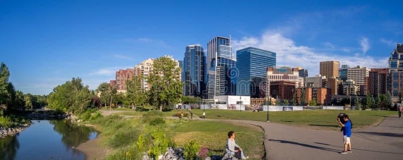 Panorama van Calgary van de binnenstad stock afbeelding