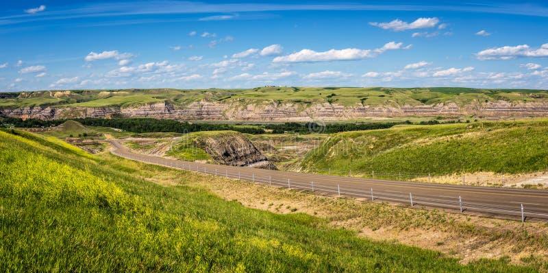 Panorama van Canadese badlands in Alberta royalty-vrije stock fotografie