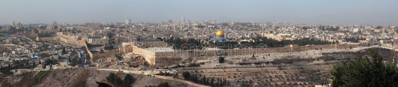 Panorama van centraal Jeruzalem, Israël Mening van het Onderstel van Ol royalty-vrije stock afbeelding