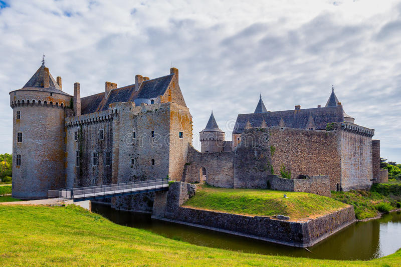 Panorama van Chateau DE Suscinio in Golf van Morbihan, Britt royalty-vrije stock fotografie