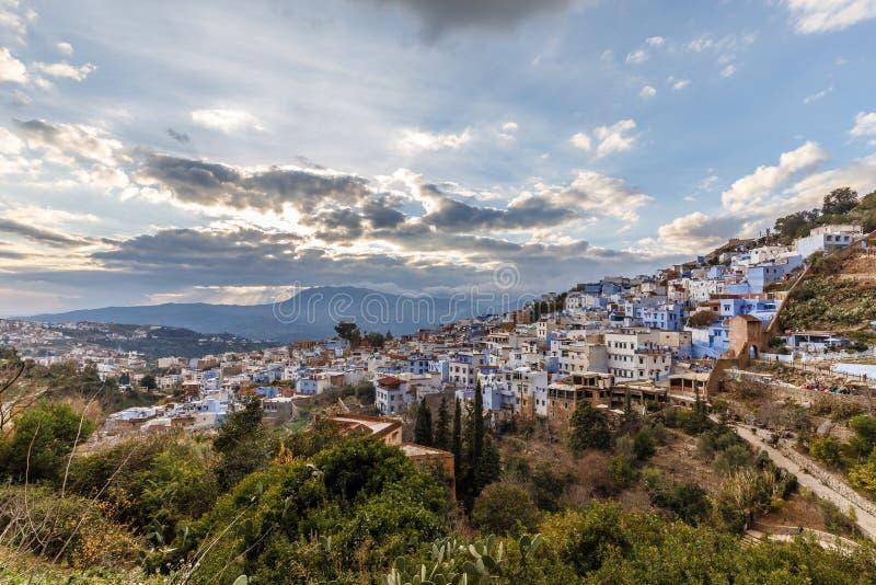 Panorama van Chefchaouen in Marokko royalty-vrije stock foto's