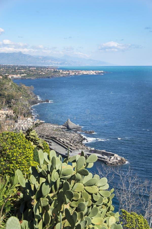 Panorama van Chiazzette Acireale stock afbeelding