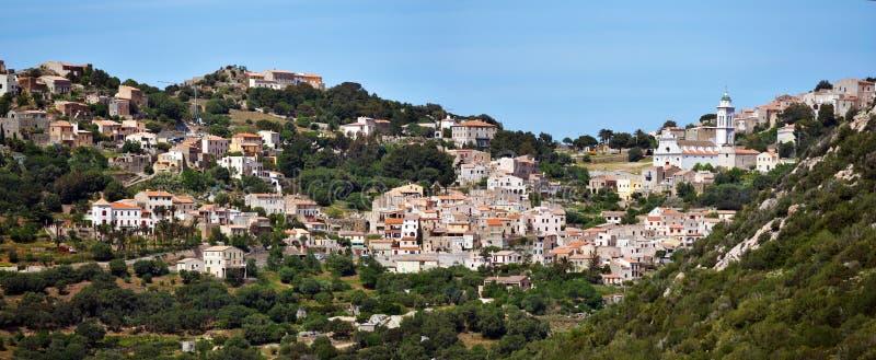 Panorama van Corbara-Dorp in het Eiland van Corsica royalty-vrije stock fotografie