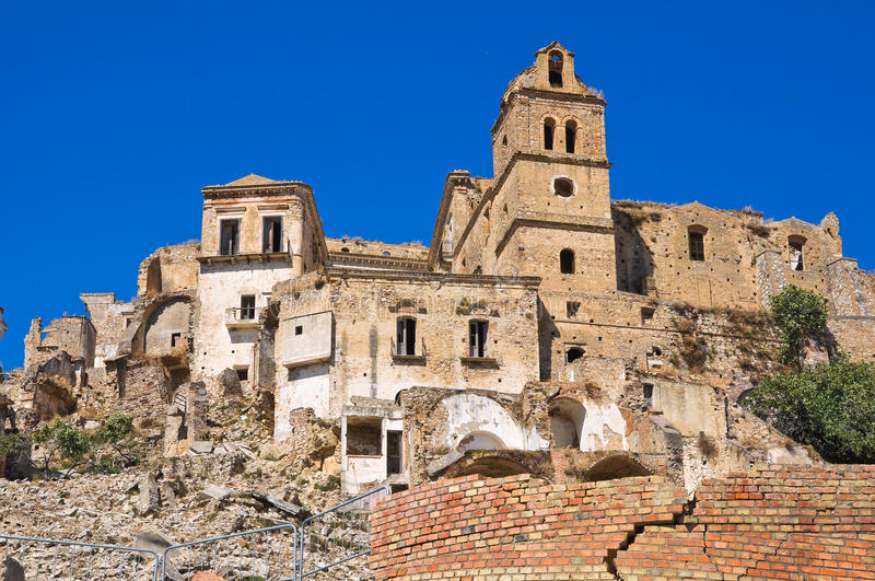 Panorama van Craco Basilicata Italië stock foto