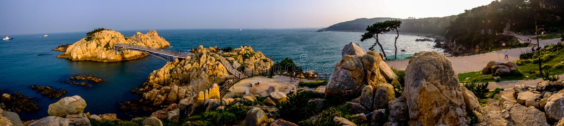 Panorama van Daewangam-Park, Ulsan, Zuid-Korea stock afbeeldingen