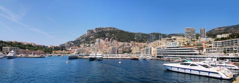 Panorama van de afdeling en Haven Hercules van La Condamine in Monaco stock foto's