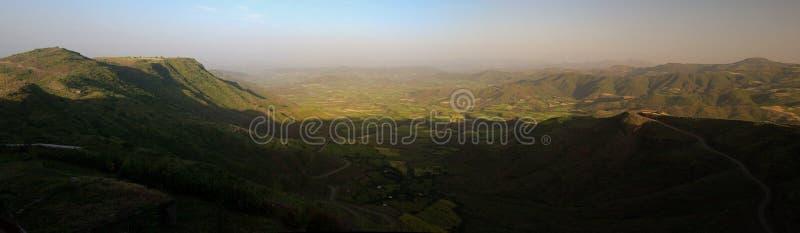 Panorama van de bergen en de vallei van Semien rond Lalibela Ethiopië stock foto