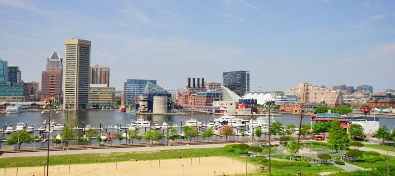 Panorama van de binnenhaven van Baltimore Maryland royalty-vrije stock foto