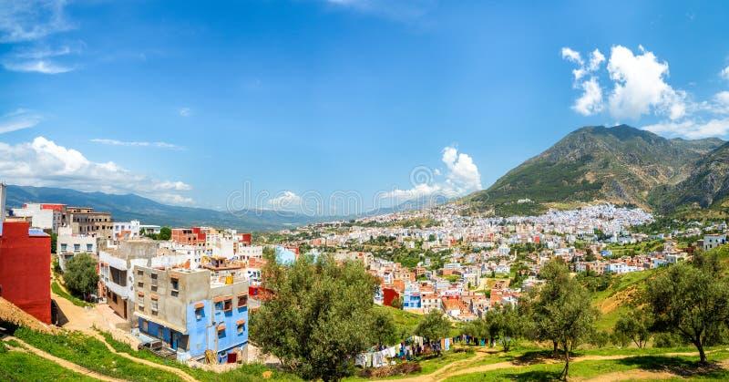 Panorama van de blauwe stad van Chefchaouen royalty-vrije stock fotografie