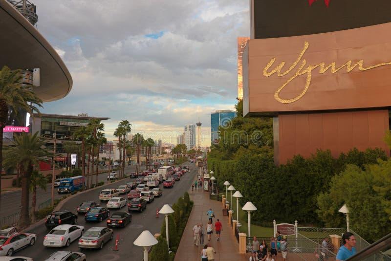 Panorama van de Boulevard van Las Vegas de Strook stock afbeeldingen