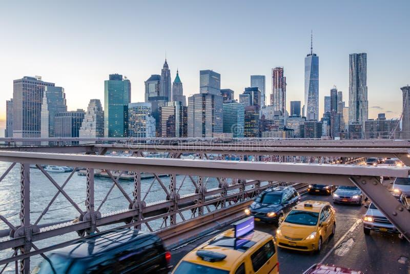 Panorama van de Brugverkeer van Brooklyn en de horizon van Manhattan - New York, de V.S. stock afbeeldingen