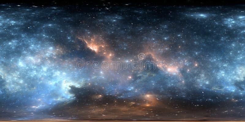 panorama van de 360 graad het ruimtenevel, equirectangular projectie, milieukaart Het sferische panorama van HDRI Nachthemel met  vector illustratie