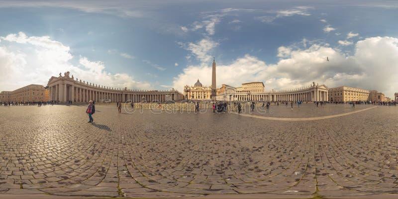 Panorama van de 360 graad het Virtuele Werkelijkheid van de stad van Vatikaan, Rome stock afbeeldingen