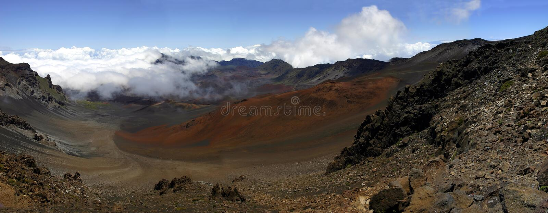 Panorama van de Haleakala Krater, Hawaï royalty-vrije stock foto's