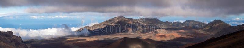 Panorama van de Haleakala-krater stock afbeelding