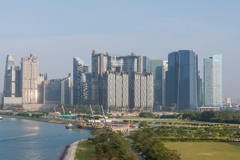 Panorama van de haven en de gebouwen van Singapore stock fotografie