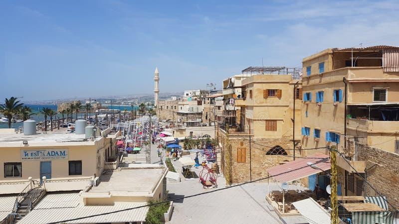 Panorama van de haven van Sidon, Libanon stock fotografie