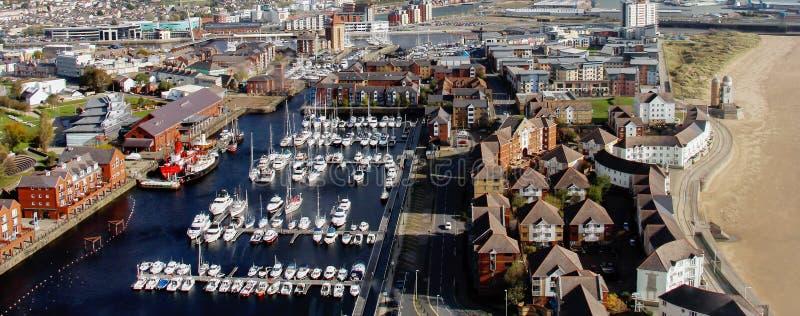 Panorama van de Haven van Swansea - Swansea, Wales, het UK stock foto
