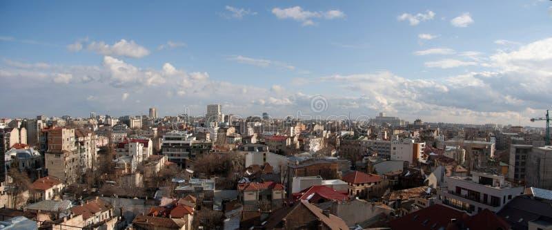 Panorama van de het centrumstad van Boekarest het oude stock foto's