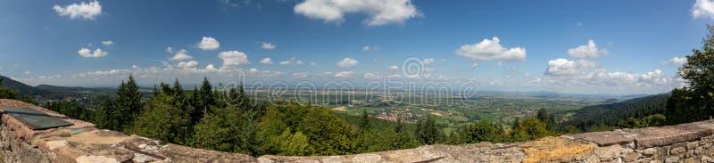 Panorama van de Hogere Rijn-vlakte in Baden, Duitsland stock afbeelding