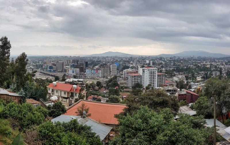Panorama van de Hoofdstad van Ethiopië, Addis Ababa stock afbeeldingen