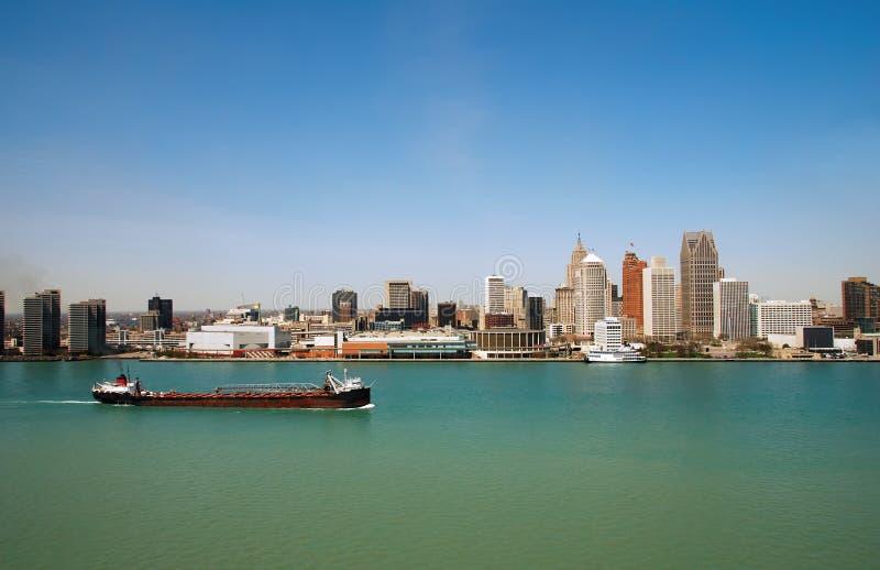 Panorama van de horizon van Detroit stock fotografie