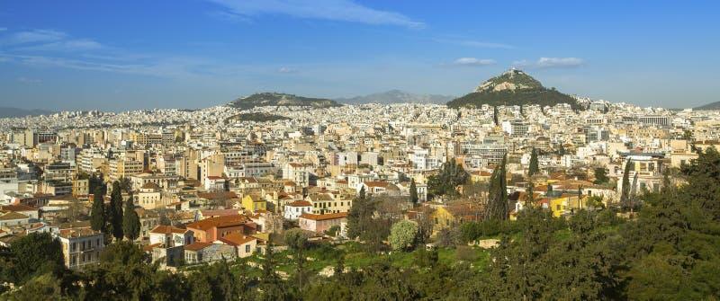 Panorama van (de juiste) Heuvel van Athene en Lycabettus-in Griekenland royalty-vrije stock afbeeldingen