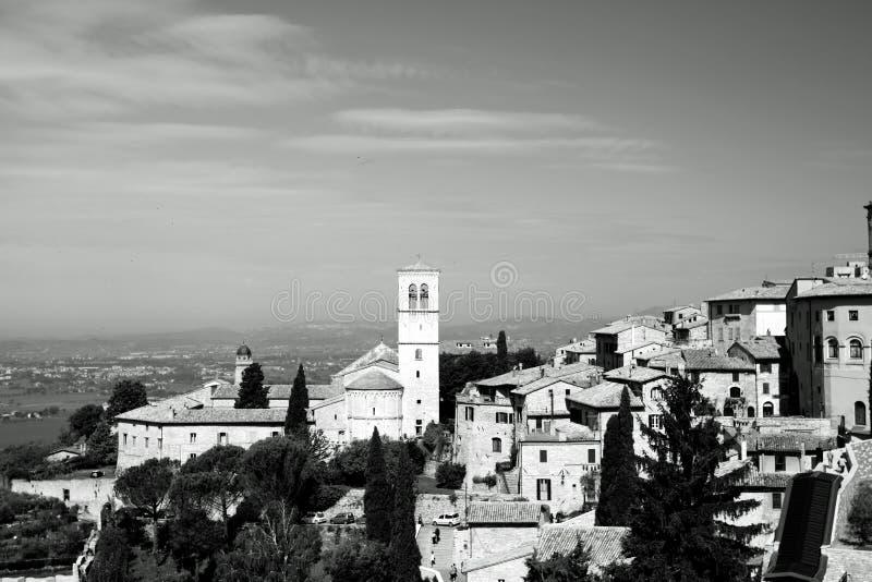 Panorama van de kerk in Assisi royalty-vrije stock foto's