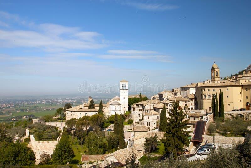 Panorama van de kerk in Assisi stock afbeelding