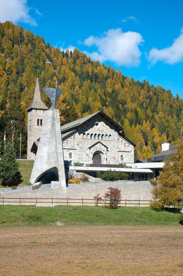 Panorama van de kerk van St Moritz, Zwitserland royalty-vrije stock fotografie