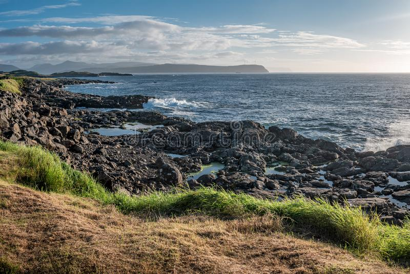 Panorama van de kust van de Faer?er royalty-vrije stock fotografie