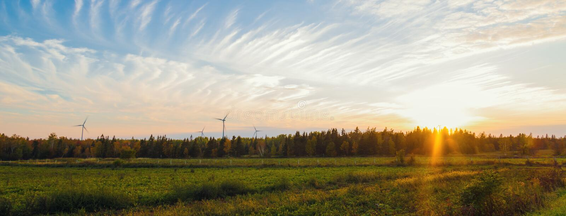 Panorama van de landelijke scène van PEI bij daling met windmolens stock afbeelding