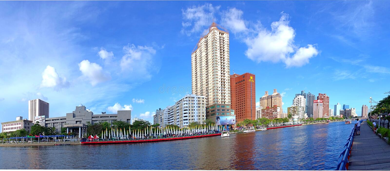 Panorama van de Liefderivier in Kaohsiung royalty-vrije stock foto