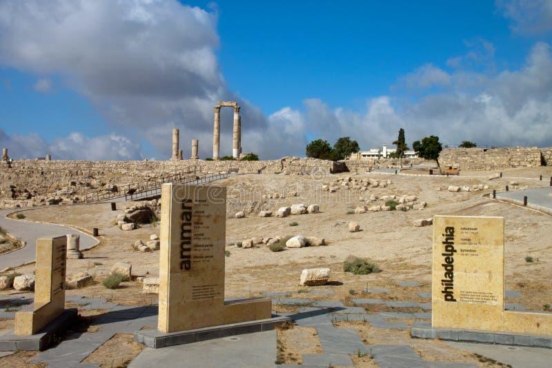 Panorama van de oude citadel in Amman royalty-vrije stock foto