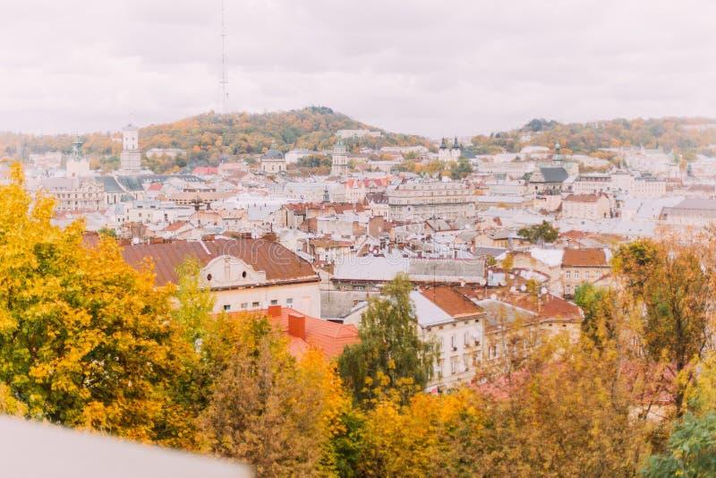 Panorama van de oude stad van Lviv, de Oekraïne van de heuvels van het citadelpark stock afbeeldingen